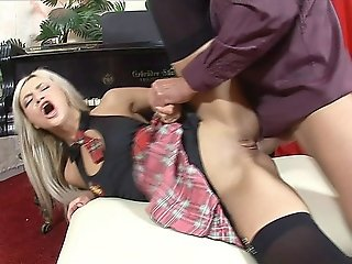 Exotic Blonde Schoolgirl Liana Gets Her Tight Pussy Eaten Out