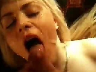 Nasty Blonde Girlfriend Takes A Facial After A Hard Fuck
