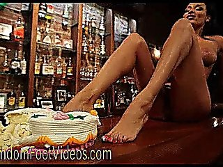 Busty French In Bare Foot Cake Smashing