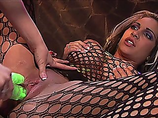 Hot Lesbian Sluts In Fishnets And Lingerie Dildo Fucking Each Other