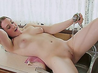 Euro Babe With Big Tits Masturbating On The Sink