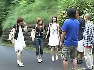 Asian Girls In Outdoor Group Fuck