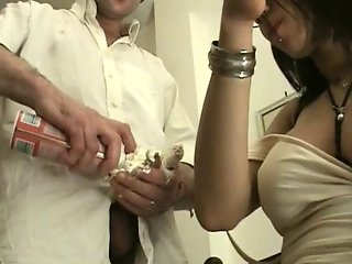 Hot Busty Brunette Tranny Makes This Guy Suck Her Whip Cream Covered Dick
