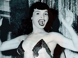 Sexy Vintage Footage Of Brunette Pin Up Girl Goddess Betty Page