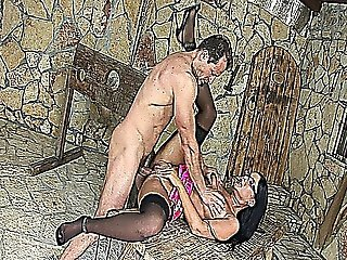 Sexy Brunette Teen Doll With Thick Glasses And High Heels Fucked Inside A Castle