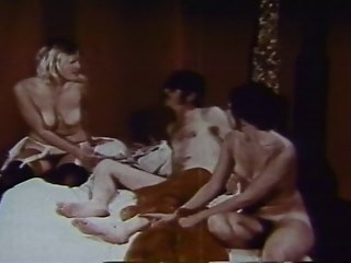Vintage Threesome With A Blonde And Brunette With Hairy Muffs