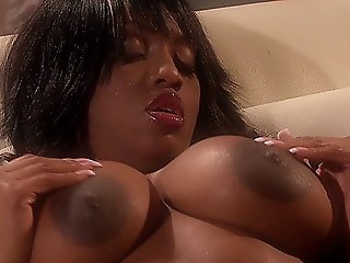 Hot Mocha Slut With Dd Tits Masturbating Alone On The Couch