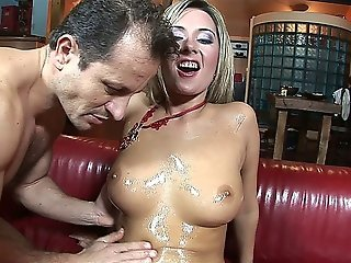 Blonde Babe Gets All Oiled Up And Fucked Hard
