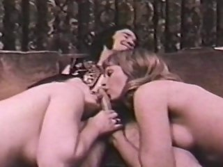 Two Girls And One Lucky Guy In Vintage Threesome Scene