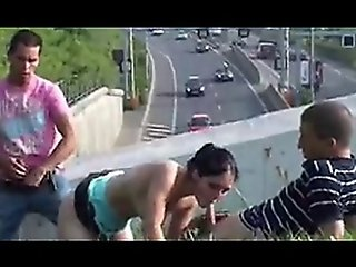 Young Pretty Teen In Highway Public Threesome