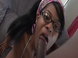 Sexy Black Babysitter With Glasses Enjoys A Huge Mocha Cock