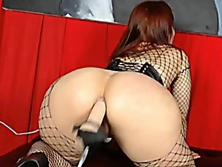 Hot Ass Fishnet Babe Fucked By Dildo Machine