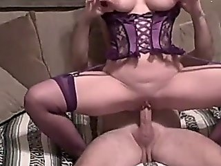 Hot Milf Fucking In Lingerie On Sofa