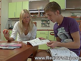 Blonde Schoolgirl Gets Sodomized Hard On The Kitchen Counter
