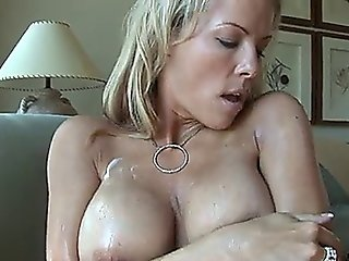 Beautiful Mommy Massages Her Huge Breasts