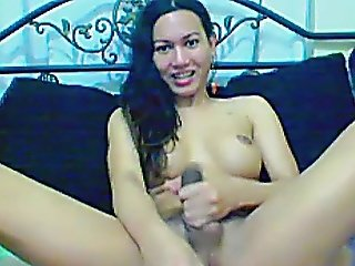 Sexy Shemale Jerking Her Cock