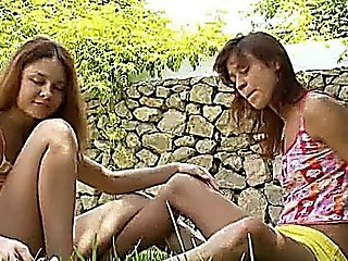 Girly Love And Pussy Gag In The Grass
