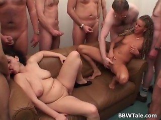 Awesome group sex scene with brunette
