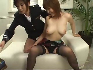 Busty Asian Girl Getting Her Pussy Stimulated With Vibrator Fisted By A Stewardess On The Couch