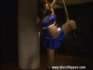 Pregnant asian teased whille tied up