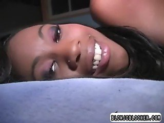 Ebony girl giving head after masturbating