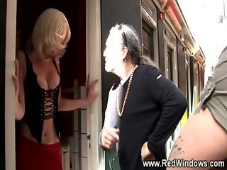 Sleazy blond hooker swallows cocks