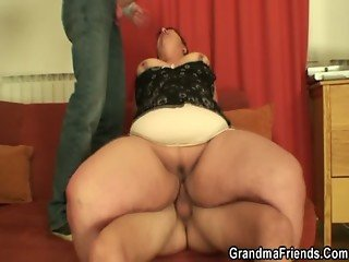 Fat mature bitch swallows two dicks