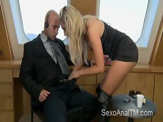 Hot blonde get's anal fucked on a yacht by a bald guy