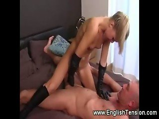 Dominant leather gloves n shoe fuck