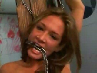 Anal slave Tory Lane chained, covered in wax and fucked HARD!