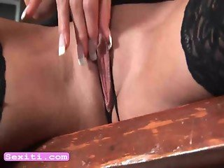 Seductive babe Natali masturbate on bar