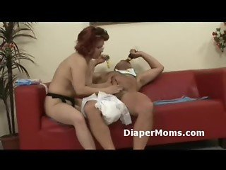 Mature mommy strap-on fucks hairy adultbaby then gives him tight handjob