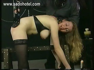 Crying bend over slave is spanked on her butt and got with a whip on her back