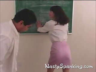 Naughty student gets her ass spanked