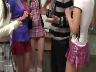 Clothed teens overrule a teacher