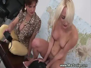 Mature rides on saddle fucking machine