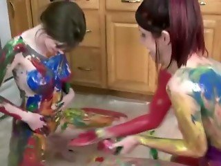 Amateur body painting girls