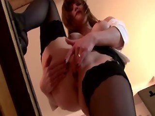 Busty slut loves mature cock in her hands mouth and pussy