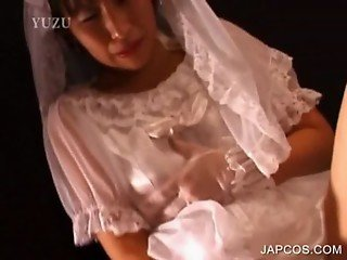 Asian in bride suit teasing her pussy