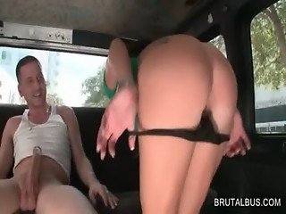 Hot amateur blows large shaft in the bus
