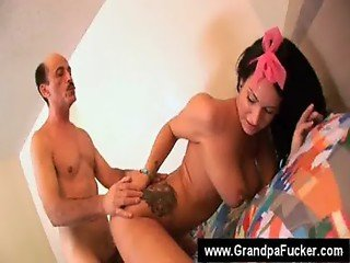 Dirty grandpa licking a pussy clean