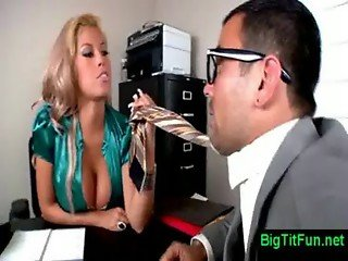female boss with huge tits in office
