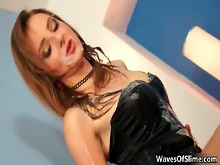 Very hot redish babe getting jizz all
