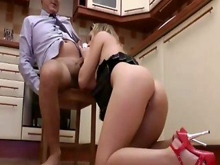 Teen gets her mouth and pussy filled by an old man
