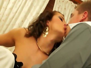 Fully clothed threesome sex in the bathroom