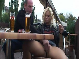 Fucking hot blonde in public on park