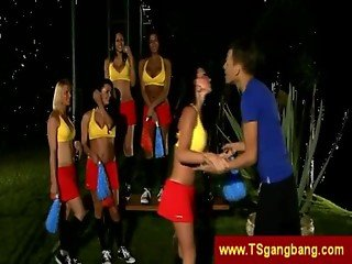 Tranny cheerleaders tease their trainer