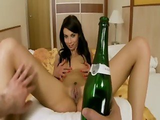 Pussy preaded with champagne bottle