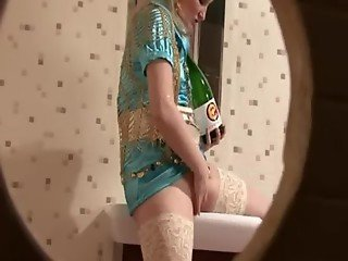 Blonde bitch and a champagne bottle get to be really good friends