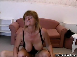 Horny grandma loves riding big young